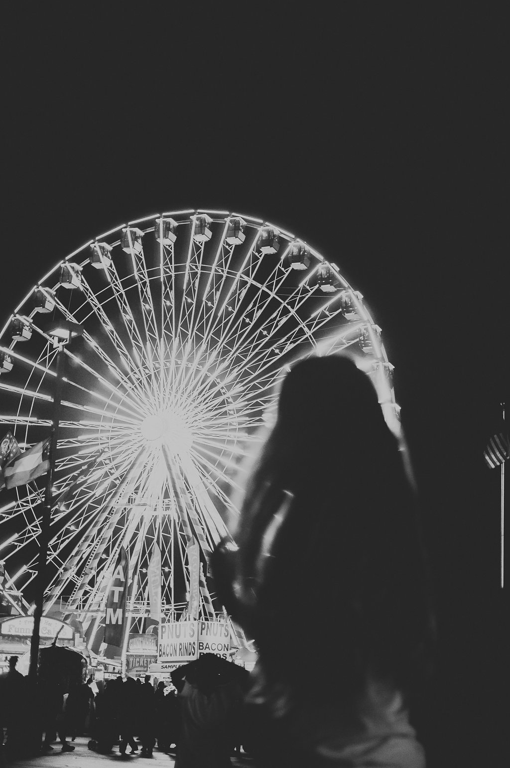 black and white ferris wheel photography