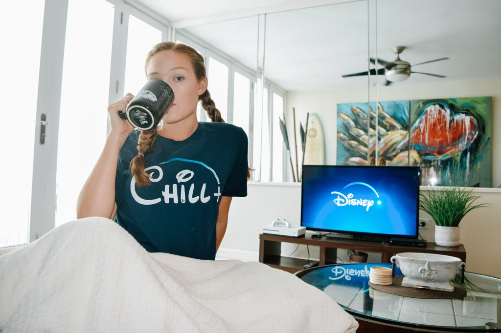 Disney plus and chill t shirt by llama wrangler cute disney tees