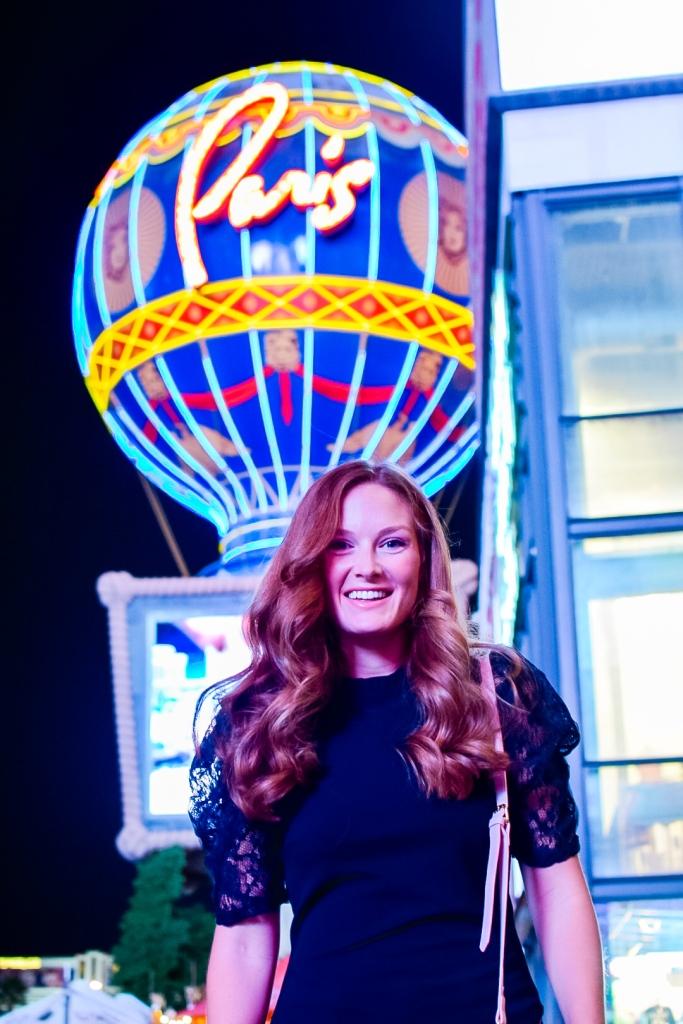 Paris Las Vegas Hot Air Balloon night Photo and Las Vegas outfit