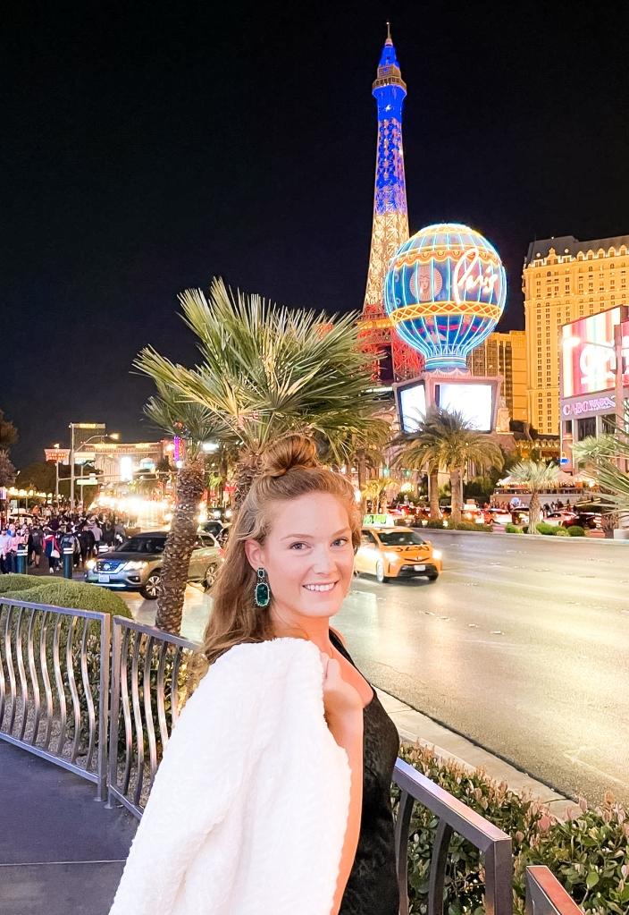Paris Las Vegas Eiffel Tower Vegas Strip View and Las Vegas Evening Outfit
